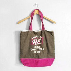 5/$25 🌿 AMERICAN EAGLE Brown Pink Tote Bag
